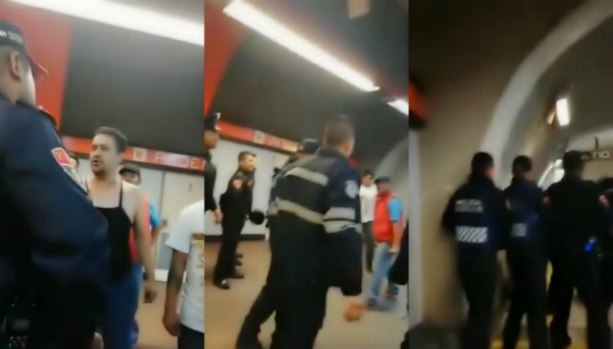 Golpes pelea policías ambulantes comerciantes Metro Mixcoac CDMX