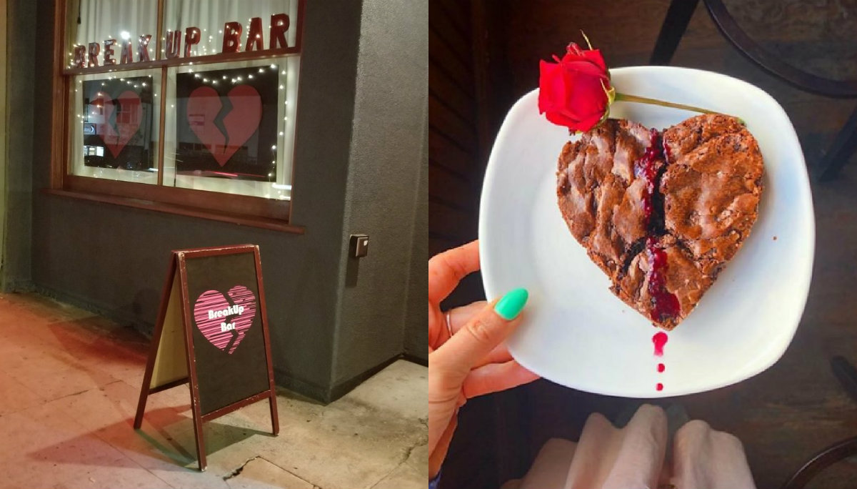 bar anti San Valentín temática corazones rotos Break Up Bar