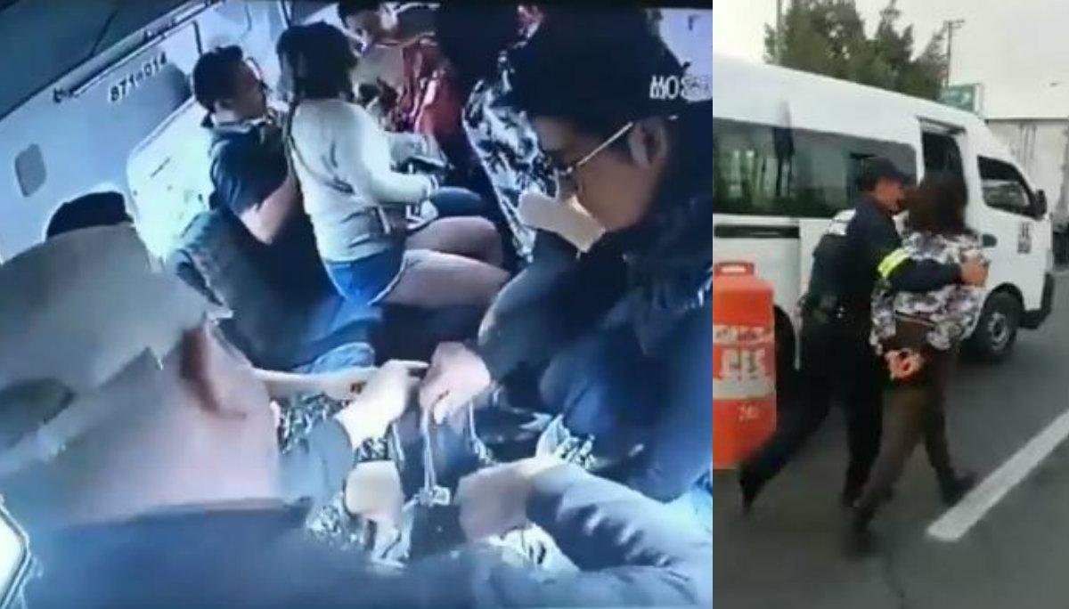 asalto combi avenida central detienen delincuentes retén