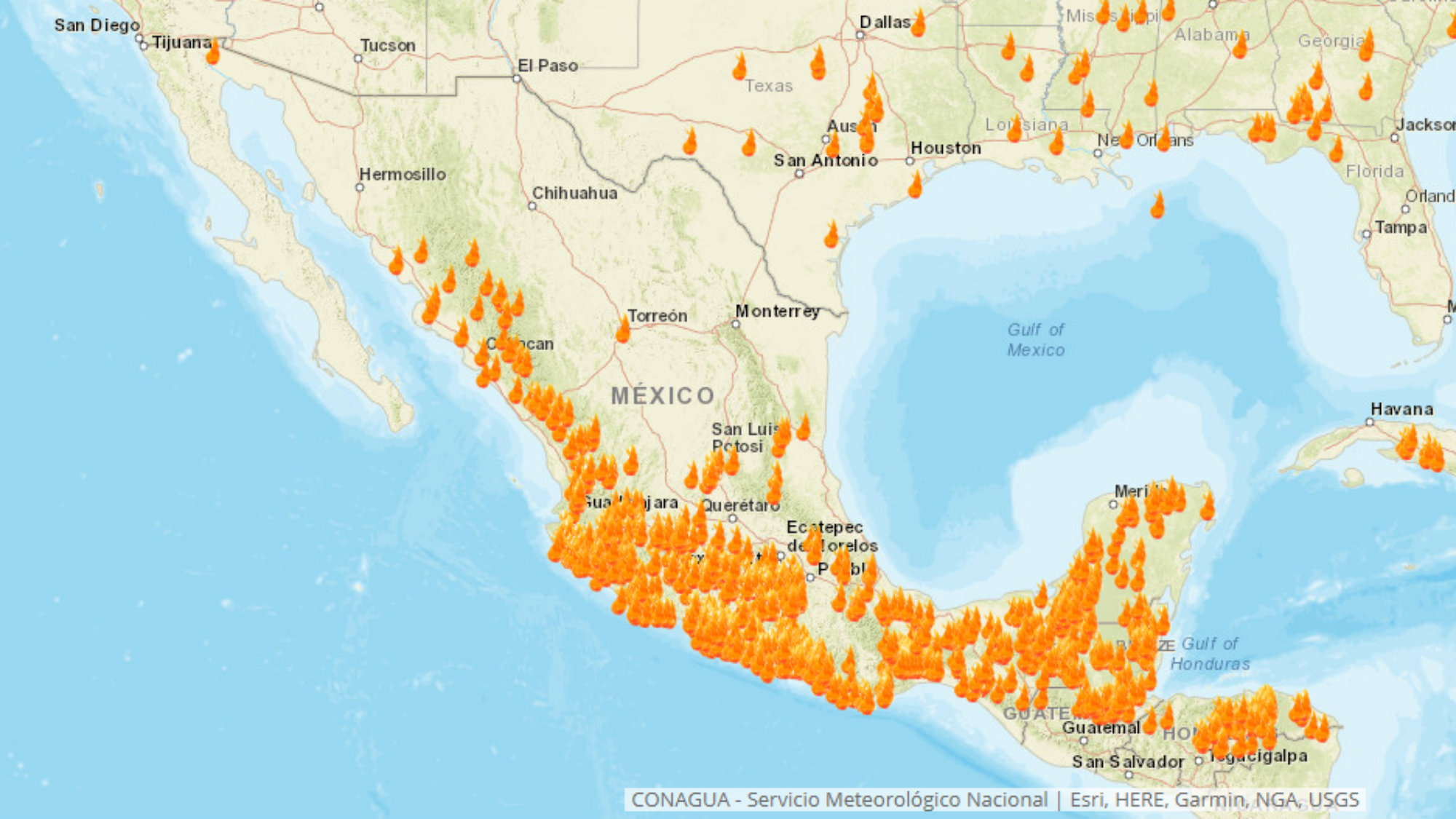 Monitoreo de focos de calor Incendios forestales CDMX Edomex