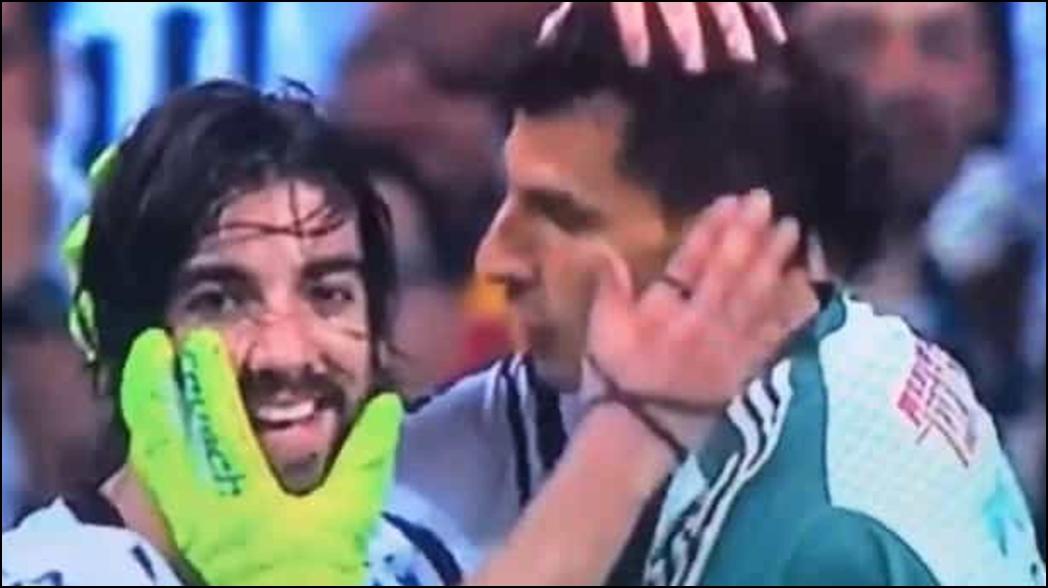 Nahuel Guzmán trató de besar a Rodolfo Pizarro
