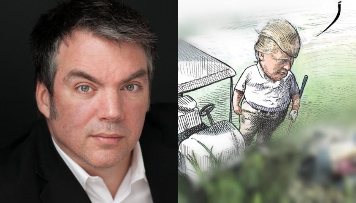 corren caricaturista burla dibujo donald trump migrantes muertos río bravo