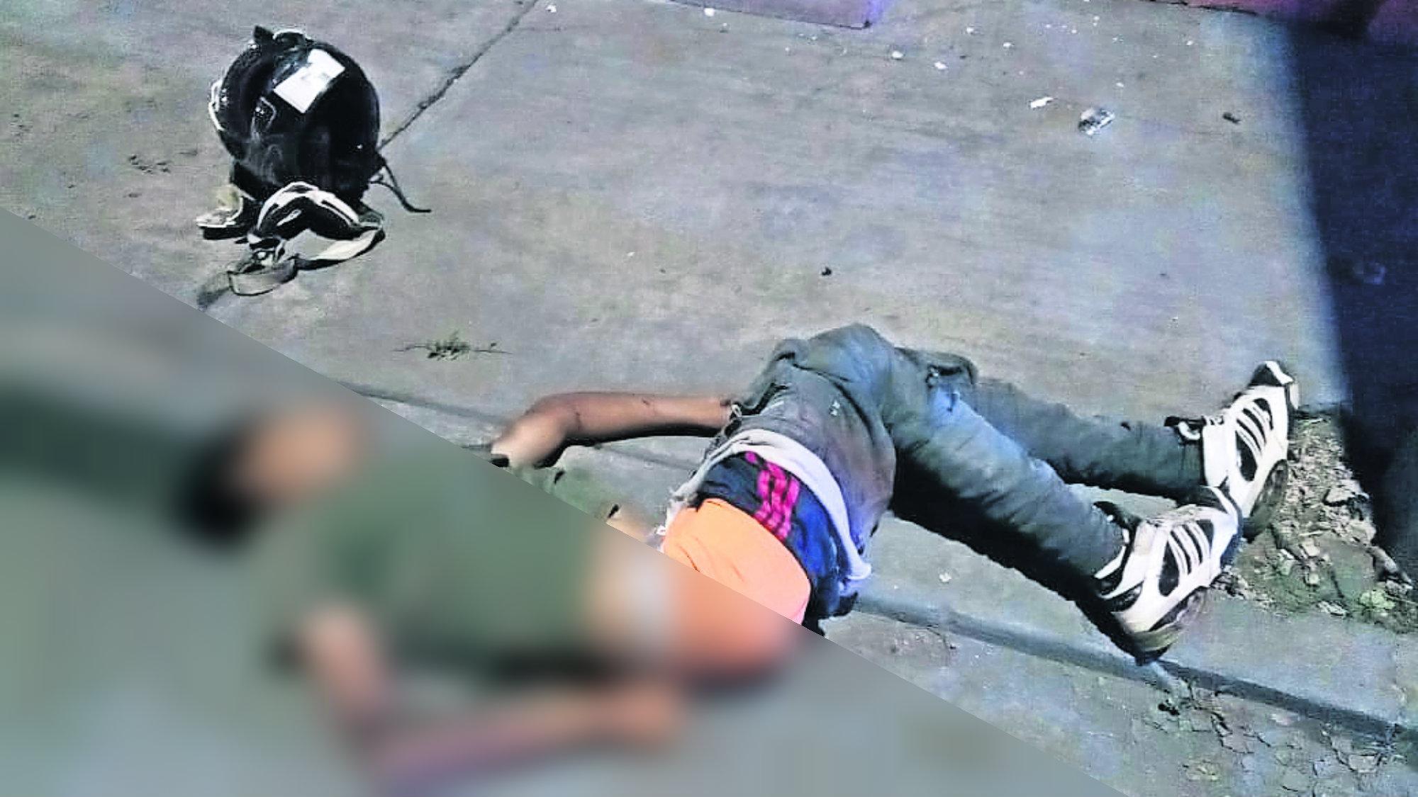 Mototciclista muerto Pierde el control Casco destrozado Morelos