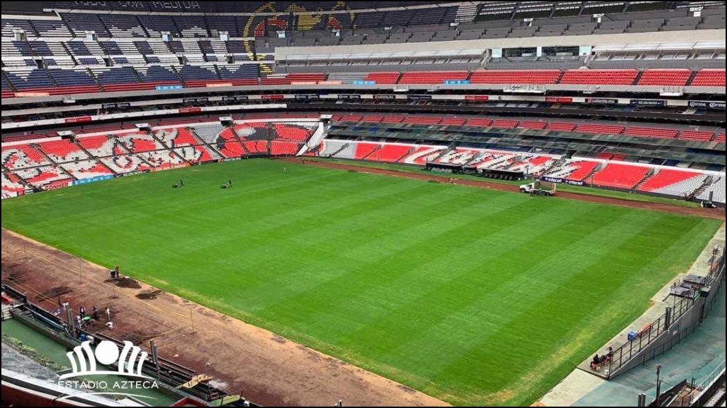 La cancha del Estadio Azteca ya está lista