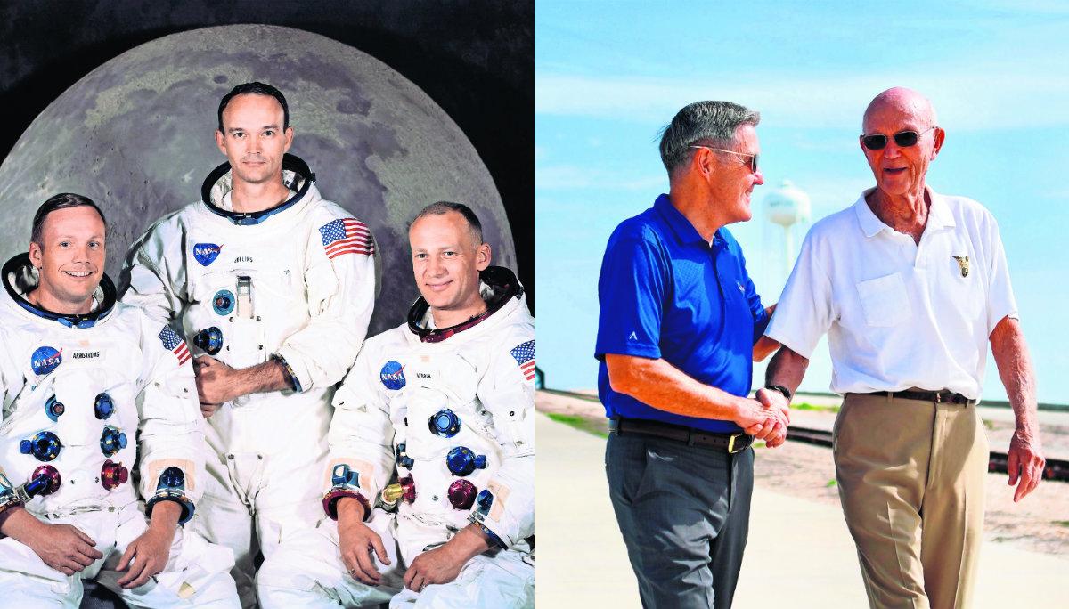 sobrevivientes veteranos astronautas apolo 11 se reunieron conmemorar aniversario llegada del hombre a la luna neil armstrong estados unidos