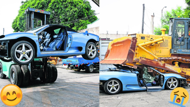 Ferrari 360 Spider destruyen impuestos automóvil deportivo Filipinas Manila