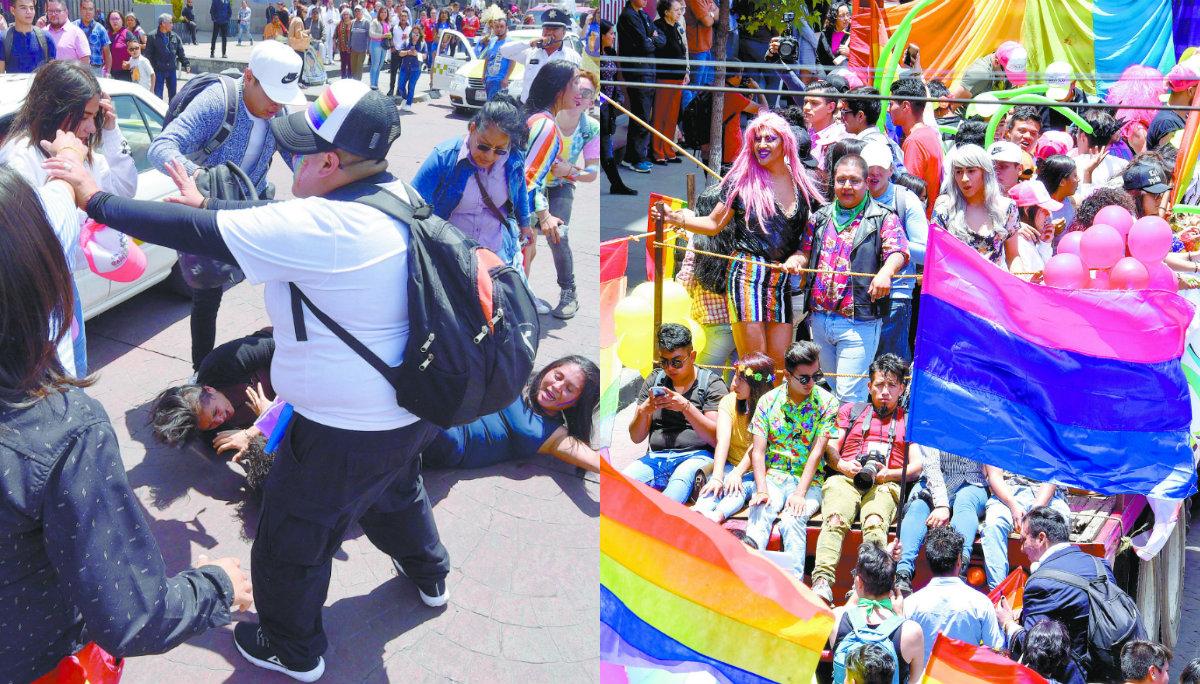 marcha del orgullo gay comunidad LGBTTTIQ asistentes bronca pelea golpes policías intervienen toluca