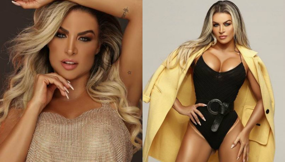 modelo brasileña dayse brucieri posa desnuda traje de eva hojas cubren partes íntimas sexy sesión de fotos