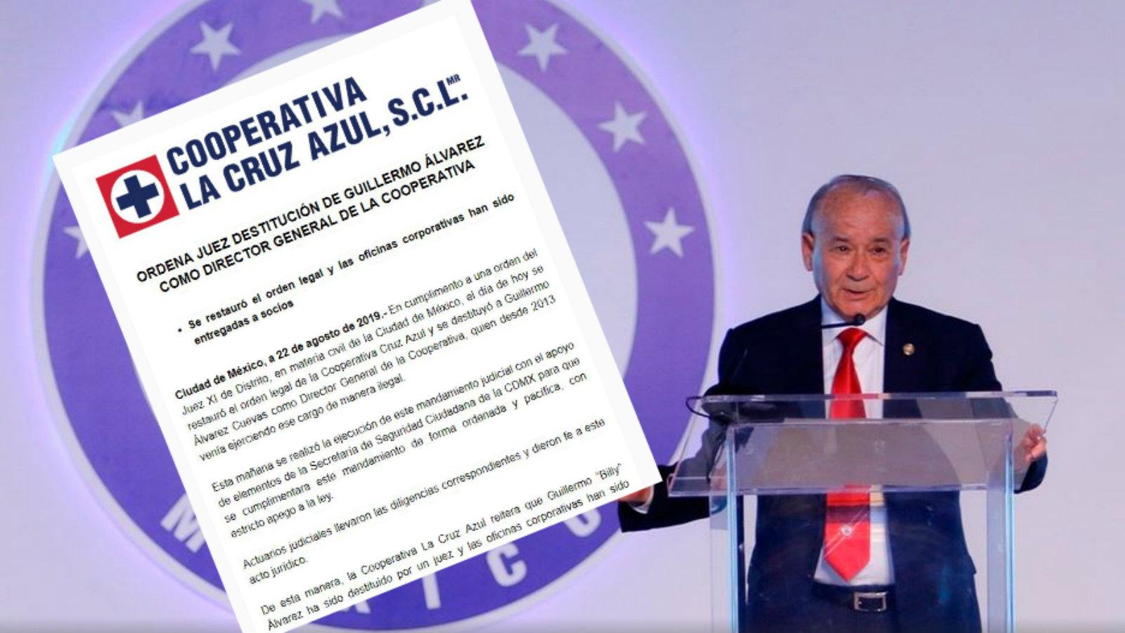 Guillermo Álvarez destituido cruz azul cooperativa vocero juez