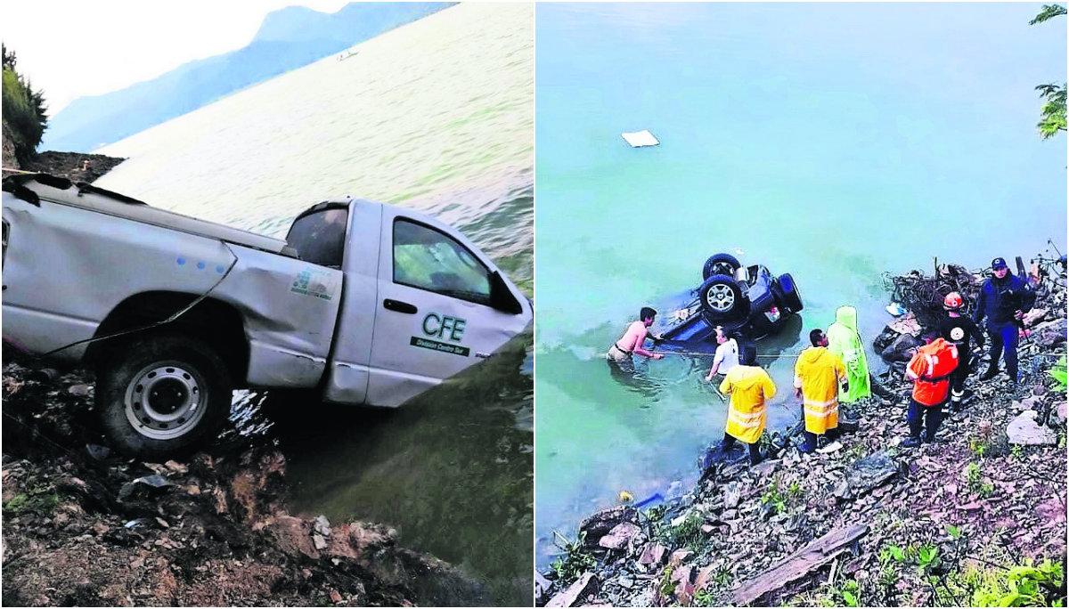 empleado CFE ahogado presa Miguel Alemán camioneta valle de bravo