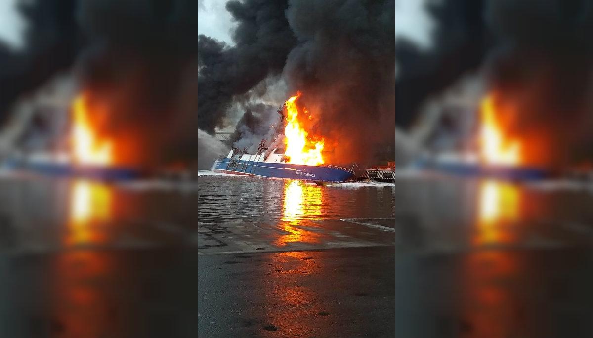 Secretaría de Marina incendio barco