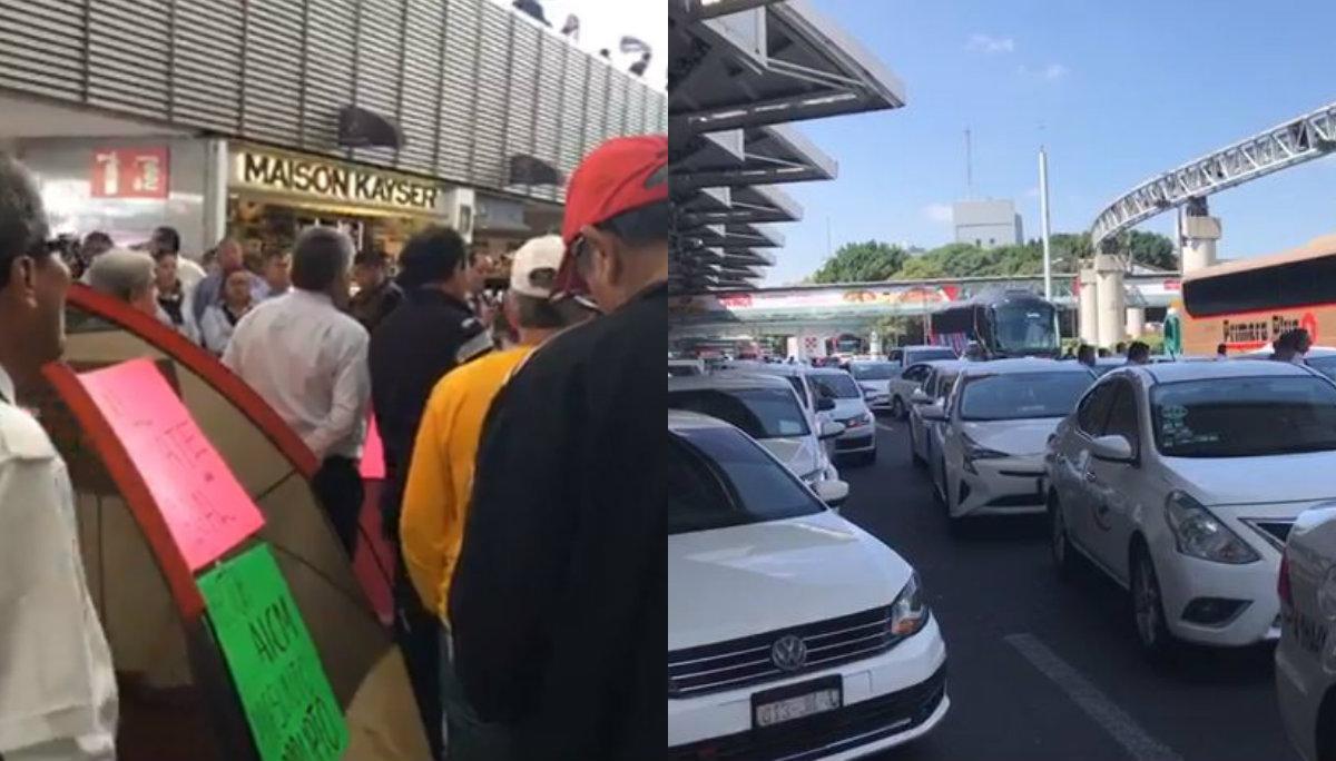 boqueo taxistas terminal 1 aeropuerto ciudad de mexico