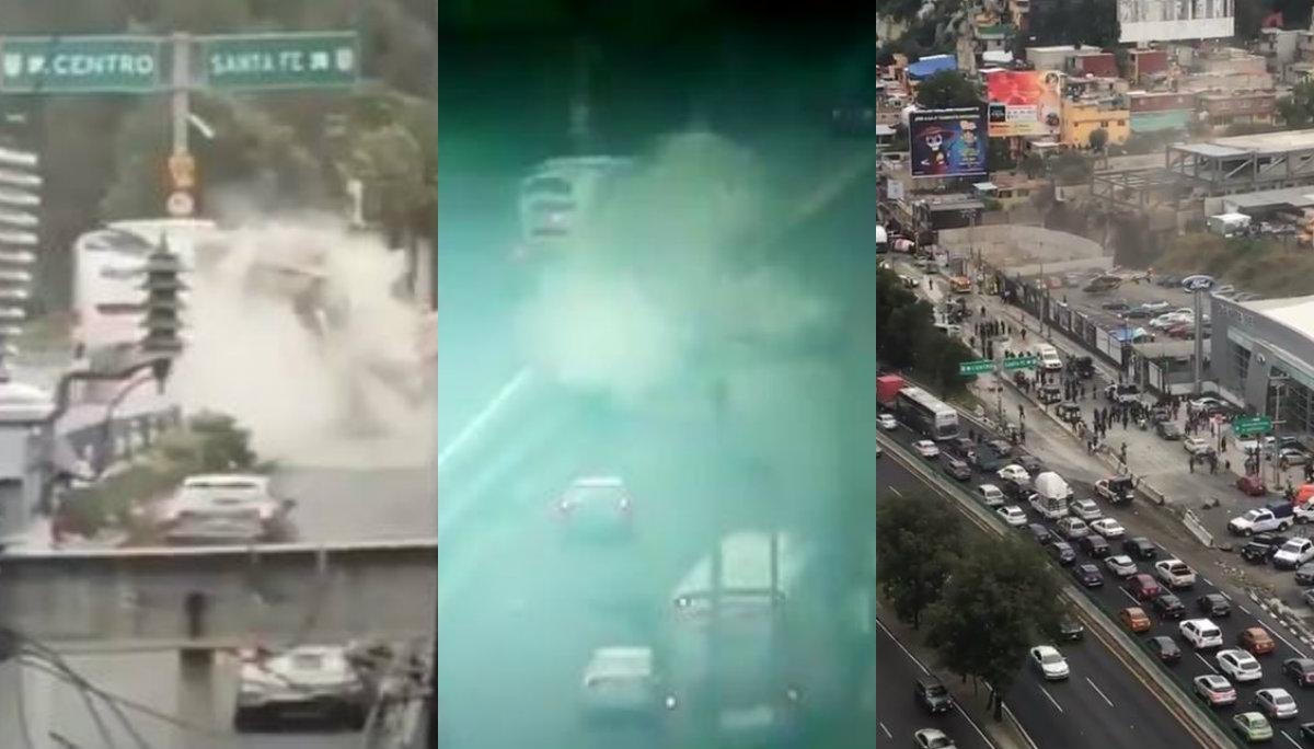 Videos de la carambola de revolvedora en la México - Toluca; 11 vehículos y 15 lesionados