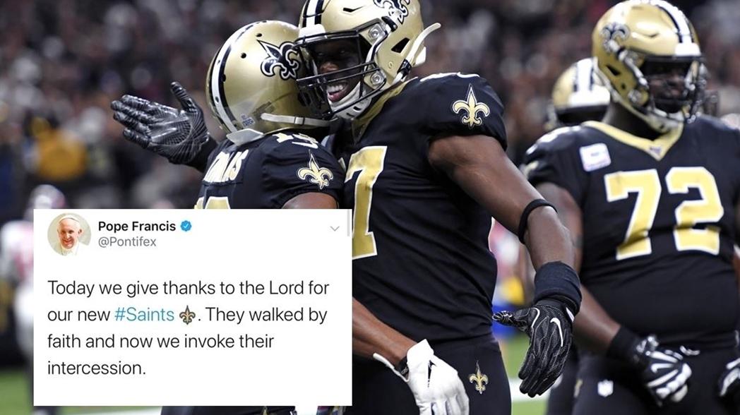 Su Santidad usó accidentalmente un hashtag de emoji para los New Orleans Saints