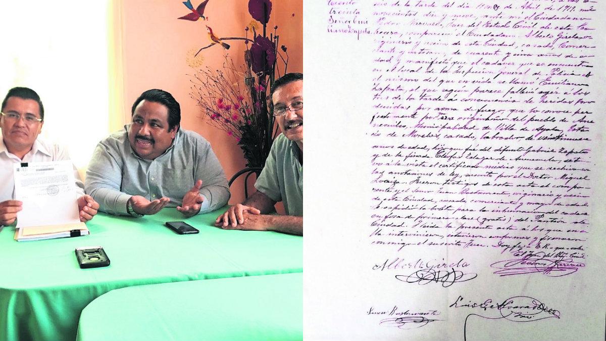 gobierno de cuautla acta de defunción de Emiliano Zapata
