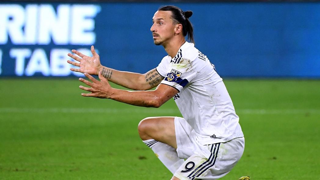 El sueco durante un partido del LA Galaxy