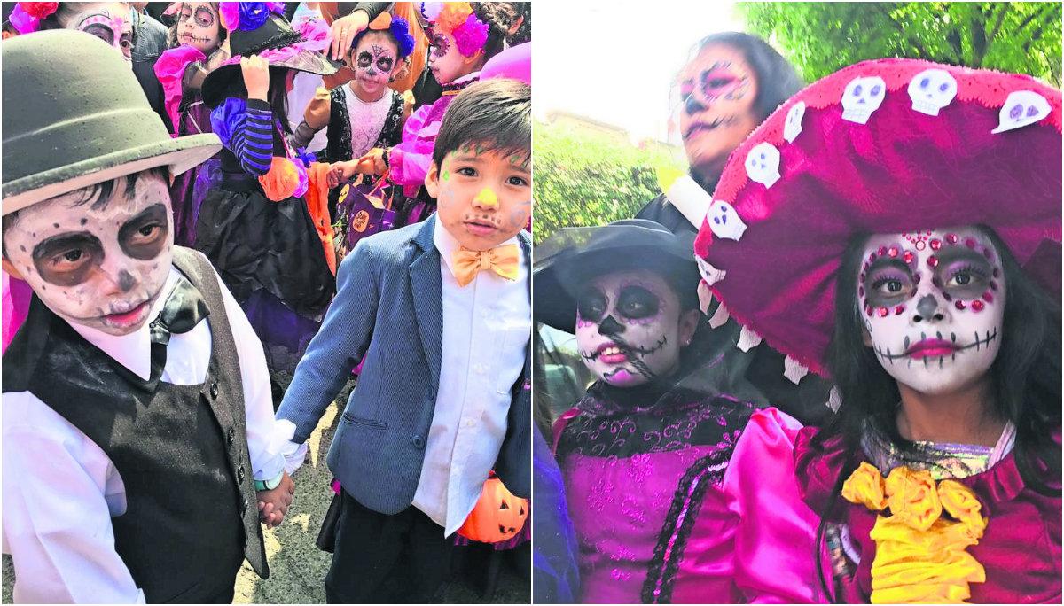 desfile día de muertos estudiantes primaria niños toluca carines catrinas disfraz tradiciones