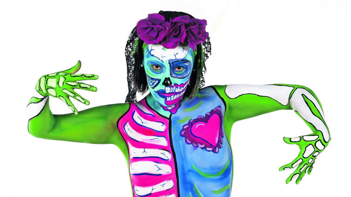 Kndy Cheshire bodypaint dia de muertos memoria