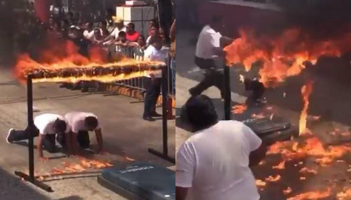 policía llamas fuego falla acrobacia desfile 20 de noviembre tabasco