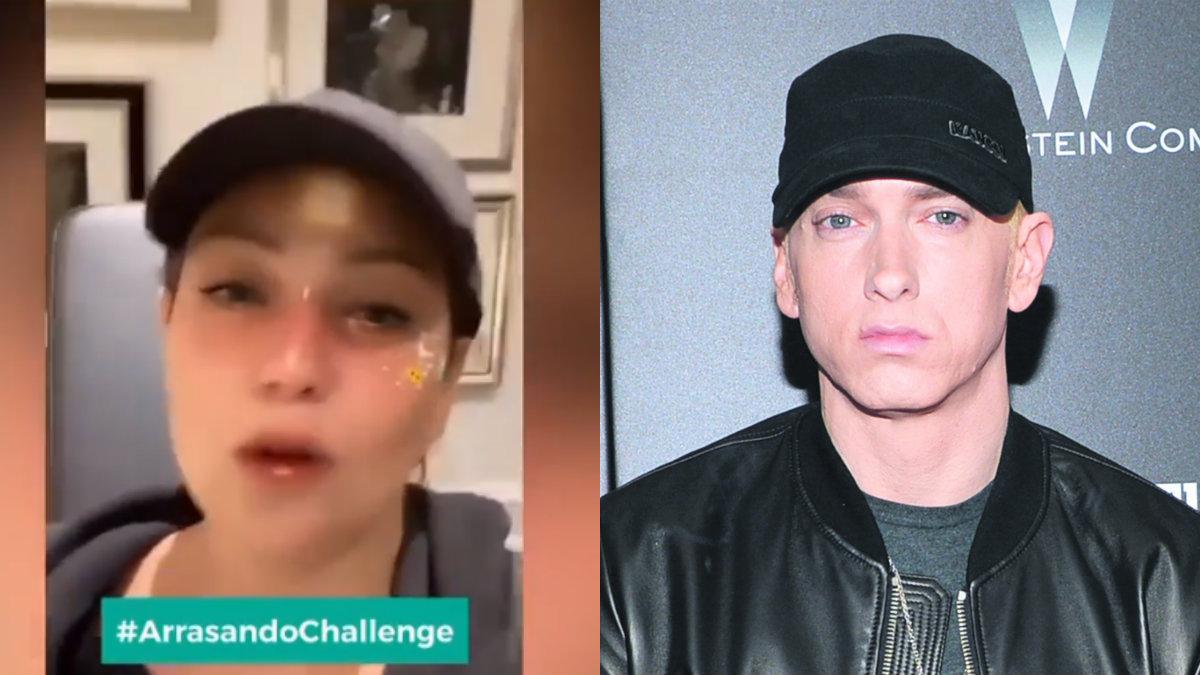 """Thalía inventa """"Arrasando Challenge"""" y las redes la comparan con Eminem"""