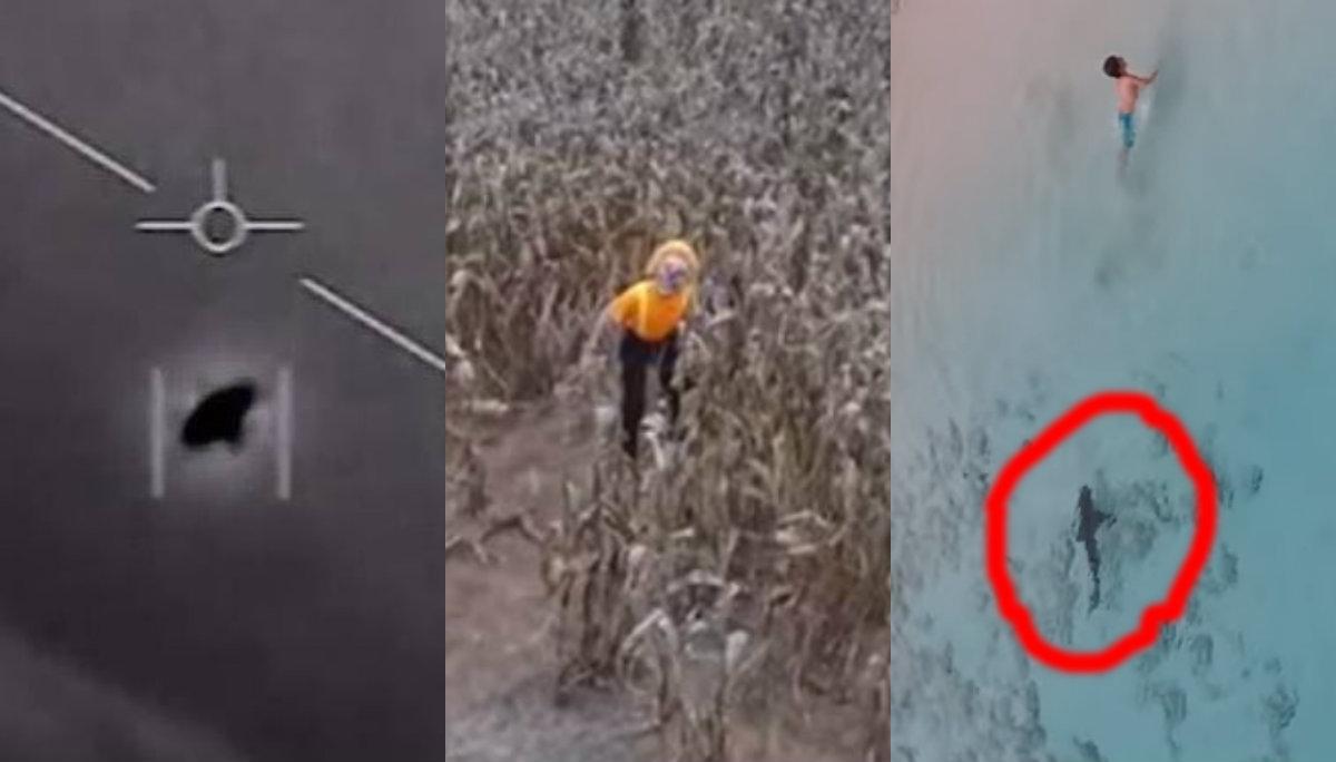 videos aterradores miedo terror captados drones dron video ovnis payaso tiburones