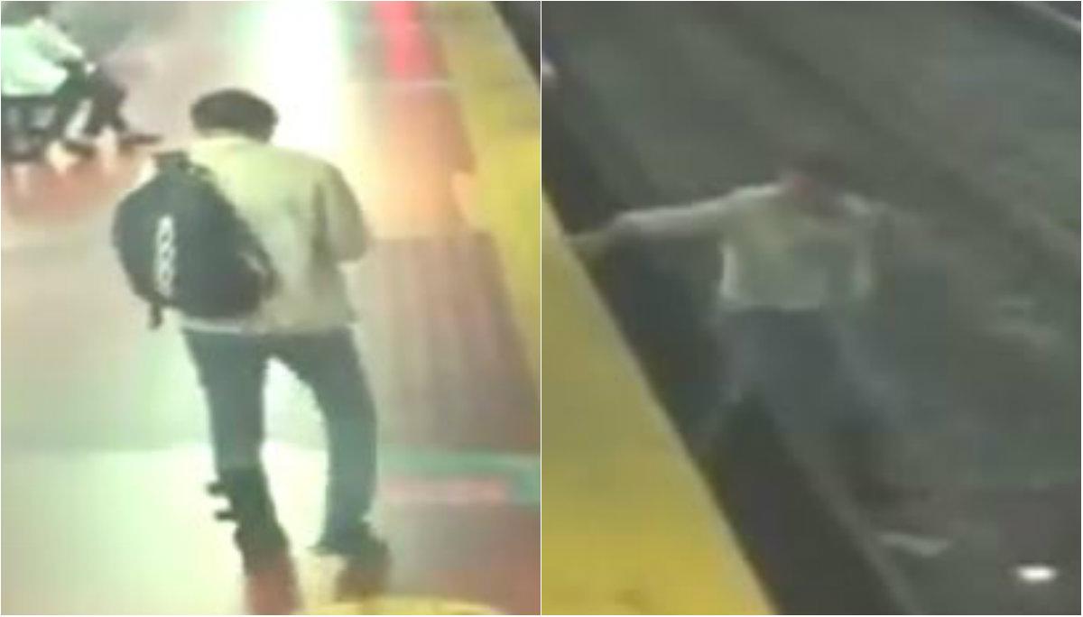 hombre distraído celular cae vías metro buenos aires argentina video tren