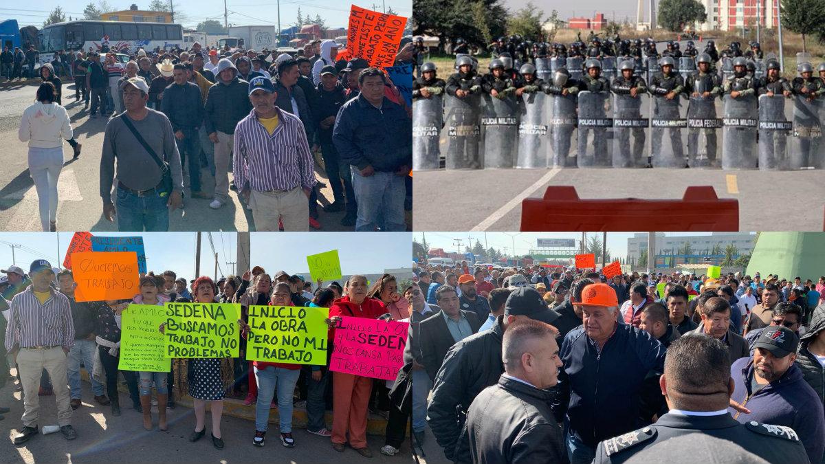 protesta bloqueo santa lucia trabajadores aeropuerto