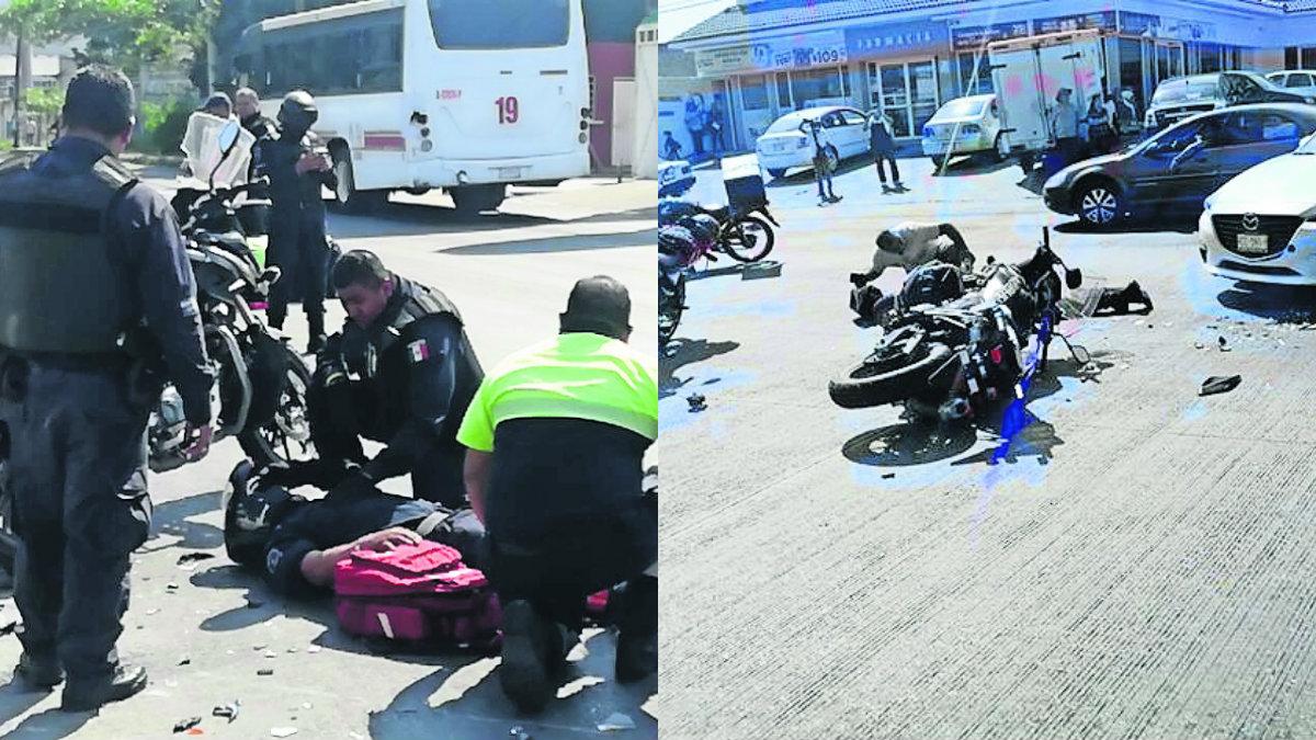 Conductora atropella policías