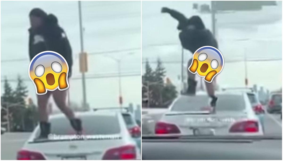 Mujer en calzones intenta destruir el coche de su novio, al descubrir infidelidad