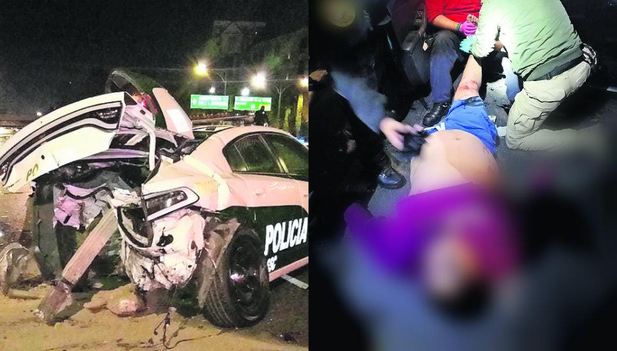 detienen ladrones heridos chocan patrulla