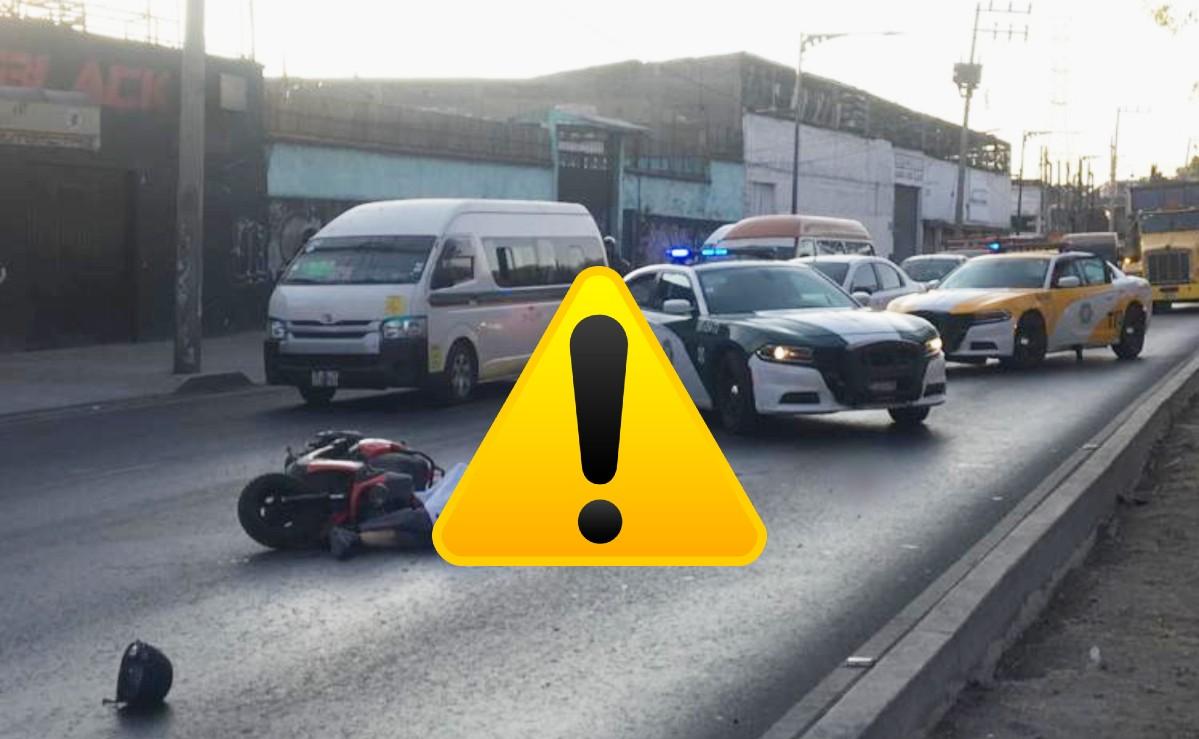 Motociclista muere al ser atropellado por un tráiler sobre la Calzada Zaragoza, en CDMX