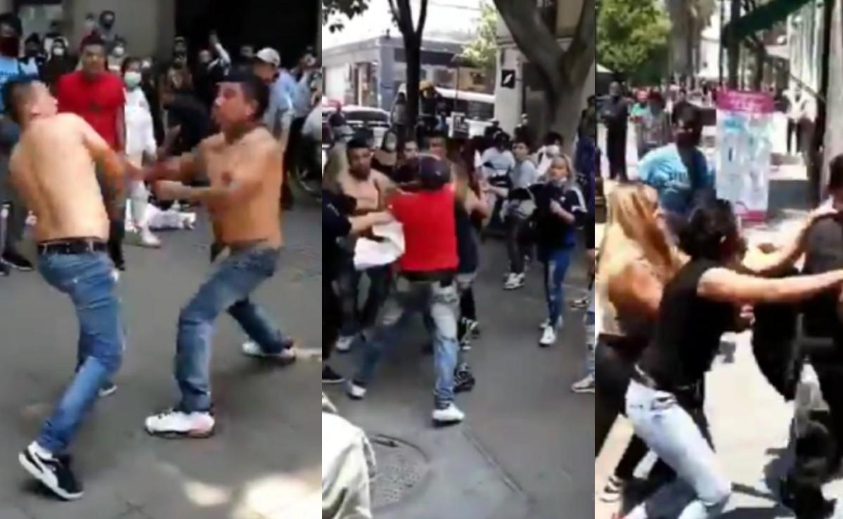 Todos contra todos, se arma batalla campal en calles del centro de la Ciudad de México