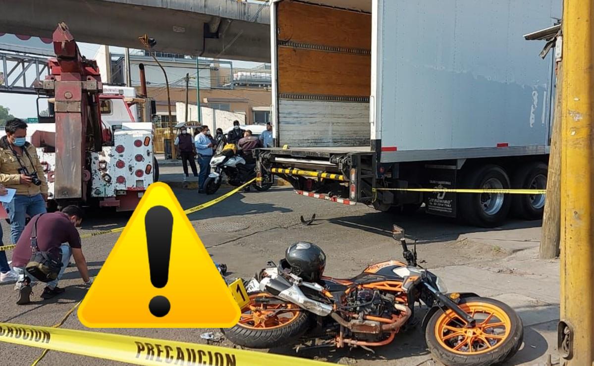 Motociclista acelerado muere al impactarse contra un camión de carga, en Edomex
