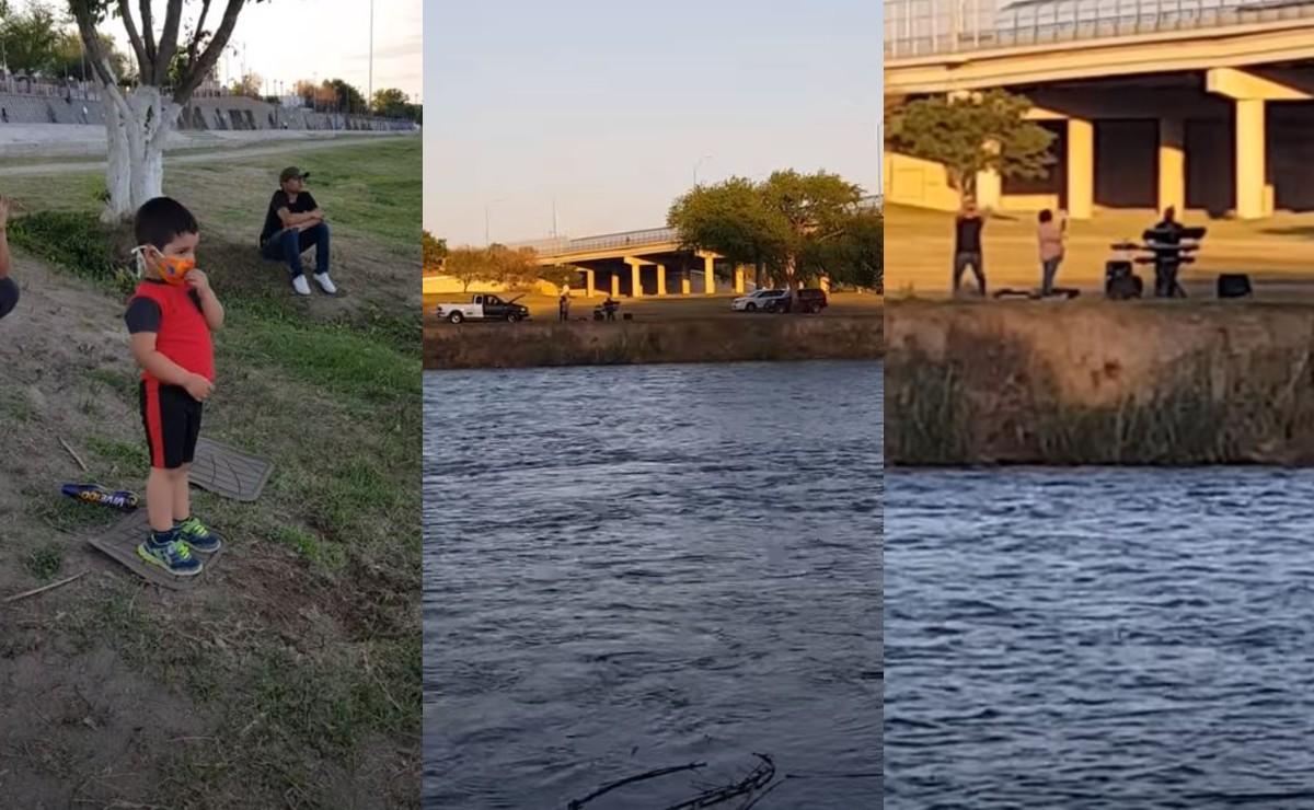 Abuelito le canta las mañanitas a nieto al borde del Río Bravo, no han podido estar cerca