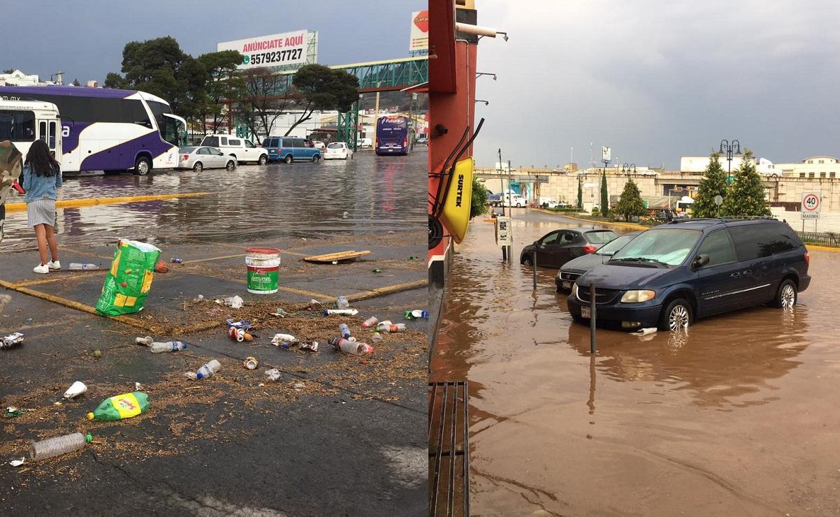 Lluvias dejan inundaciones en al menos 5 puntos en libramiento de Atlacomulco