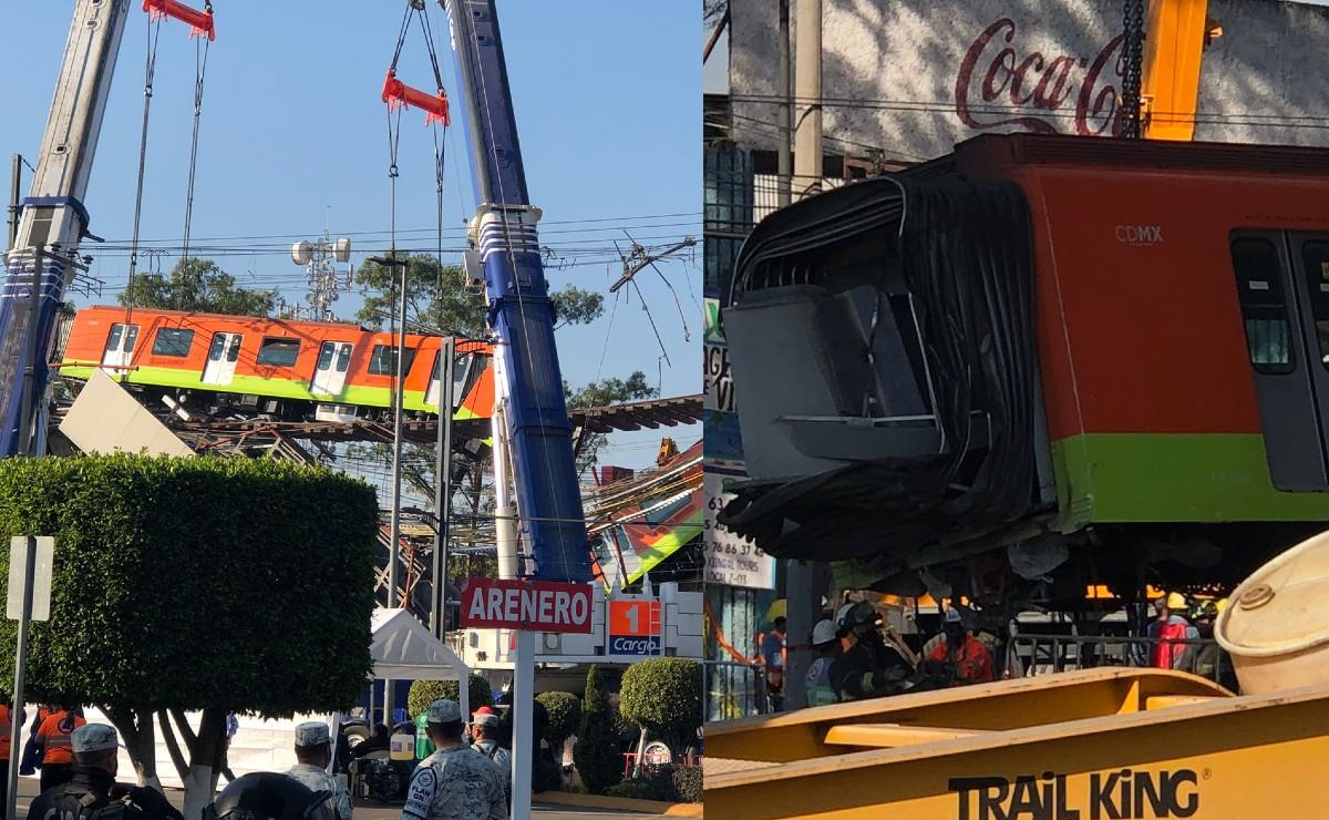Así retiran el convoy del Metro colapsado en la estación Olivos de la Línea 12