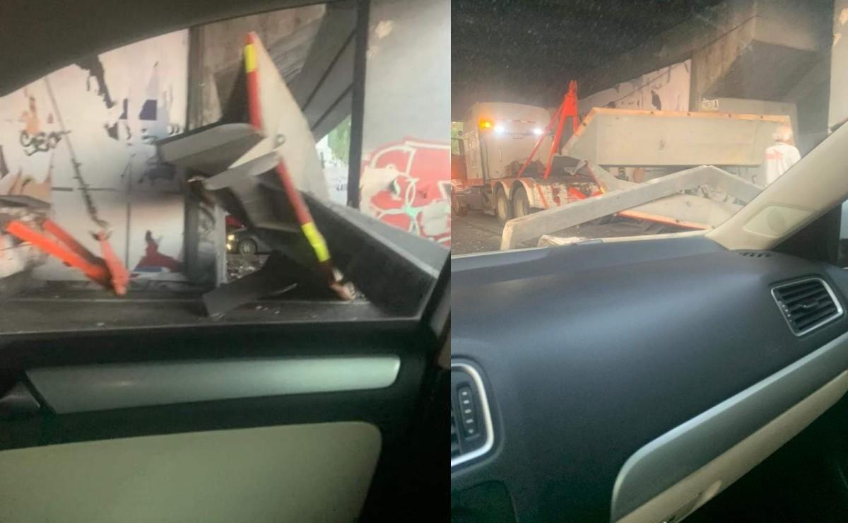 Se viraliza presunto desplome de puente vial en Tlalnepantla, pero enorme pieza era de tráiler
