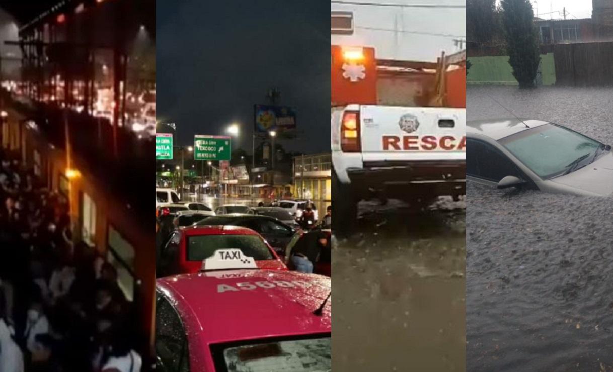 (VIDEOS) Lluvia colapsa Línea A del Metro, municipios en Edomex y la CDMX