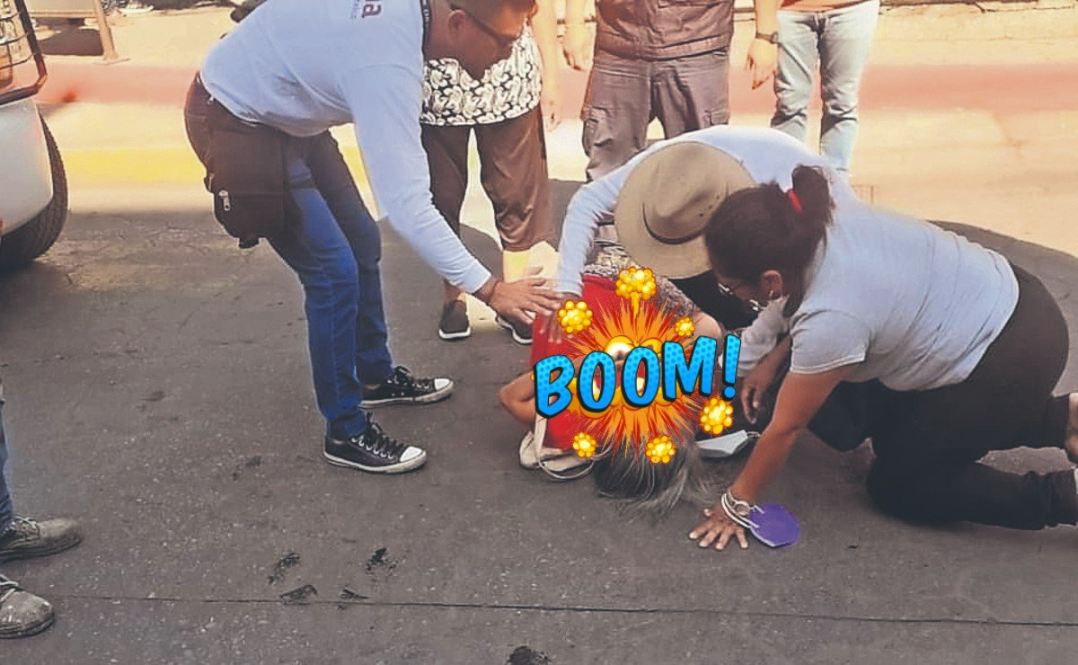Acusan a ñora de aventarse contra camioneta de Morena, para que el PAN grabara video
