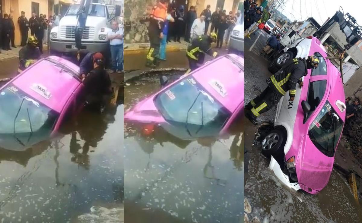 Enorme socavón se traga un taxi en calles de Milpa Alta, el conductor contó lo que sintió