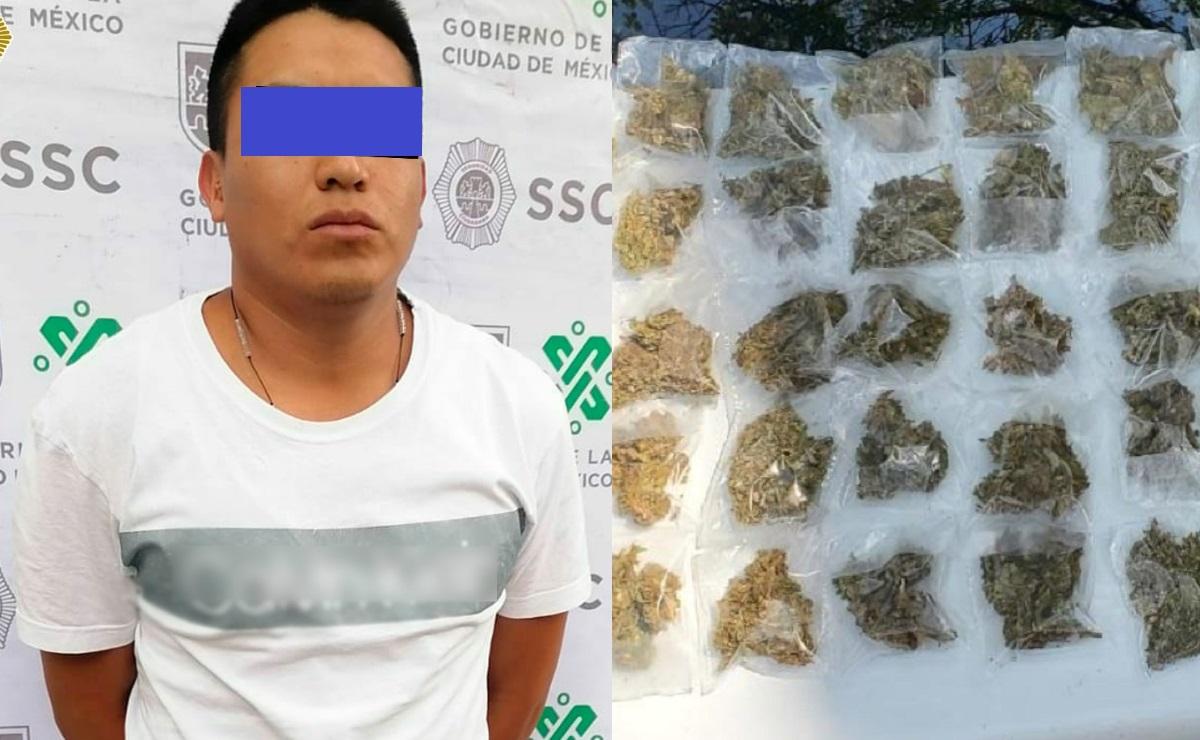 Detienen a hombre en posesión de varias bolsas de aparente marihuana en la CDMX