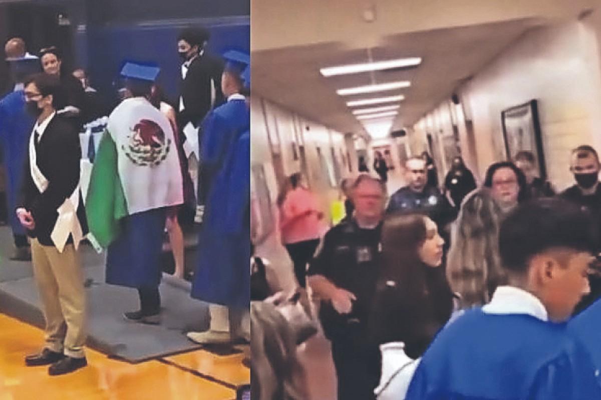 Escuela de EU niega diploma a alumno que se puso una bandera de México en la toga