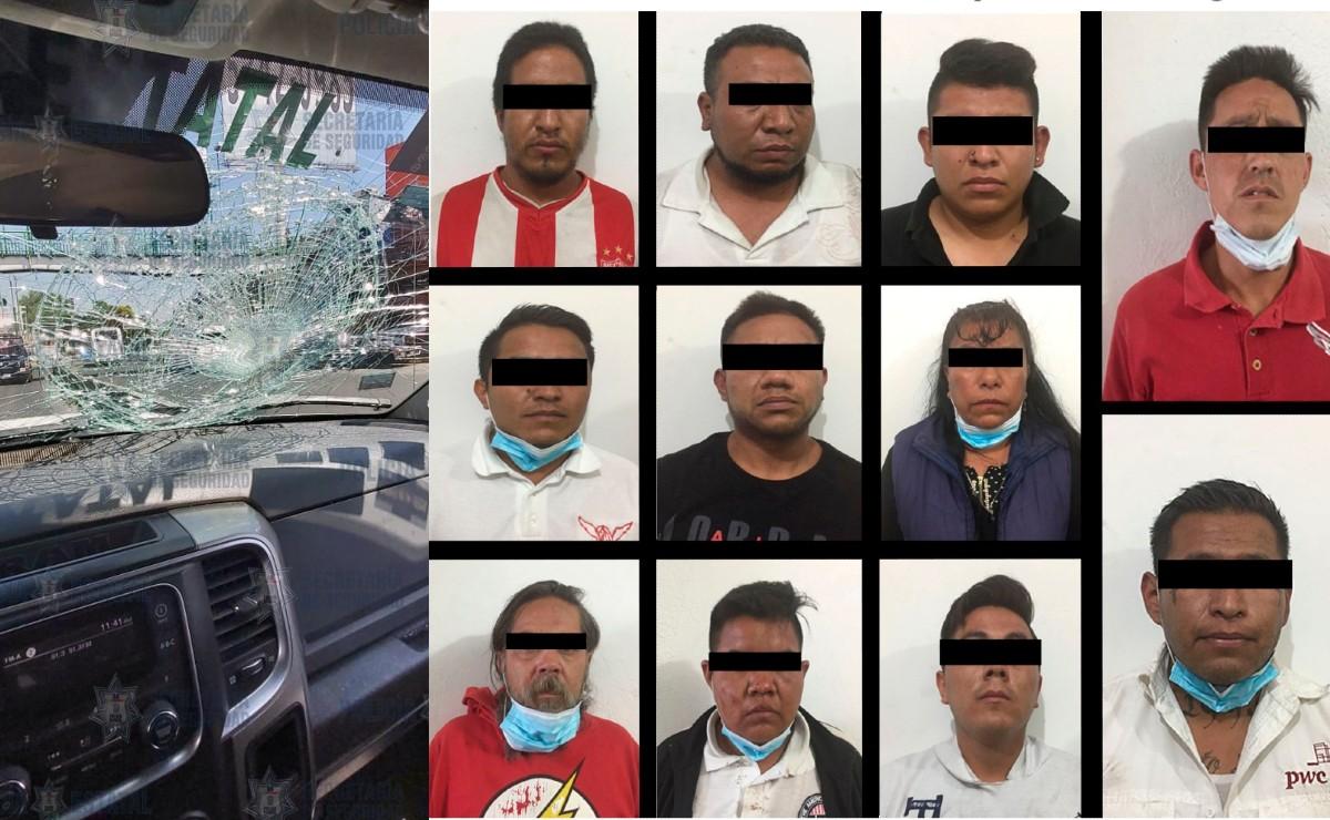 Detienen a 11 personas por atacar a policías de Cuautitlán Izcalli, a uno lo descalabraron