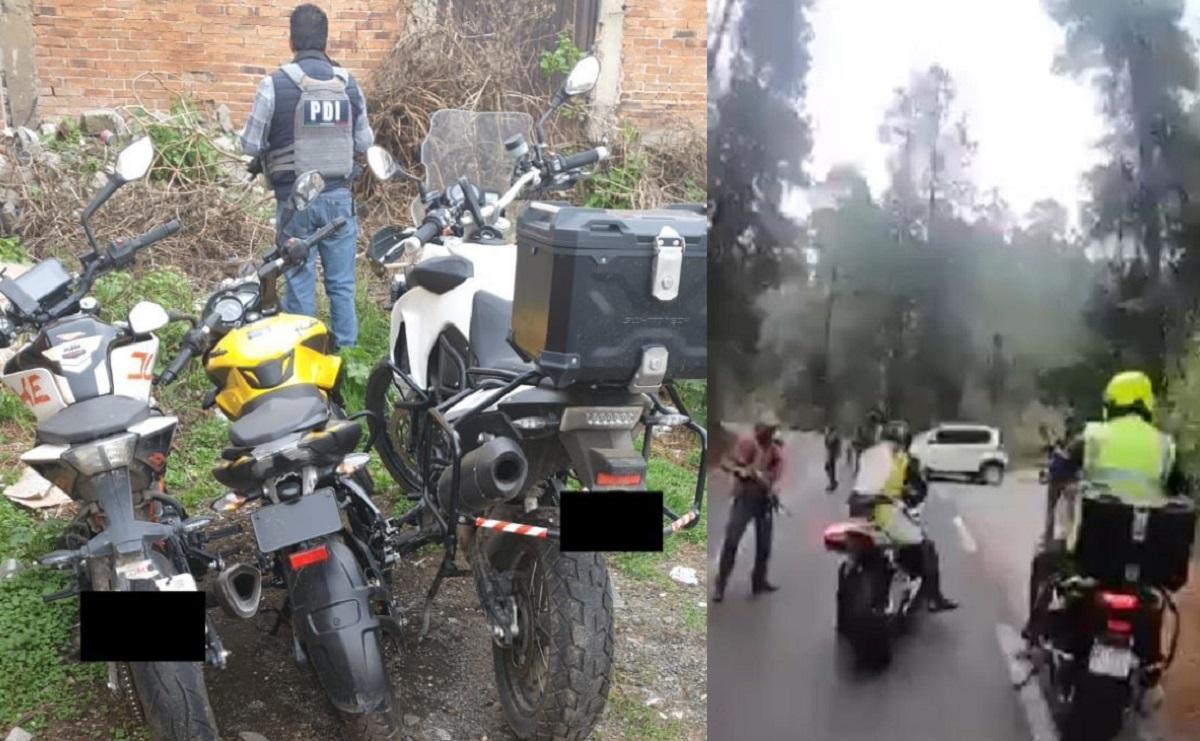 Hallan motos de alta gama robadas en asalto de grupo armado que se hizo viral, Edomex