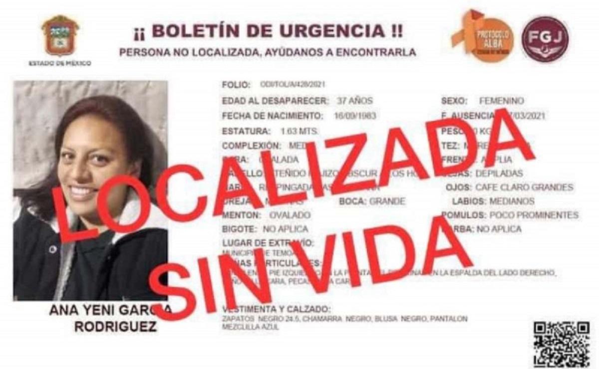 Tras tres meses de búsqueda, hallan sin vida a Ana Yeni García en el Edomex