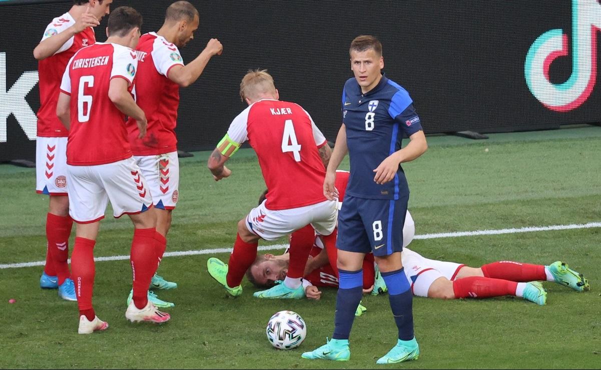 Christian Eriksen se desploma en partido entre Dinamarca y Finlandia