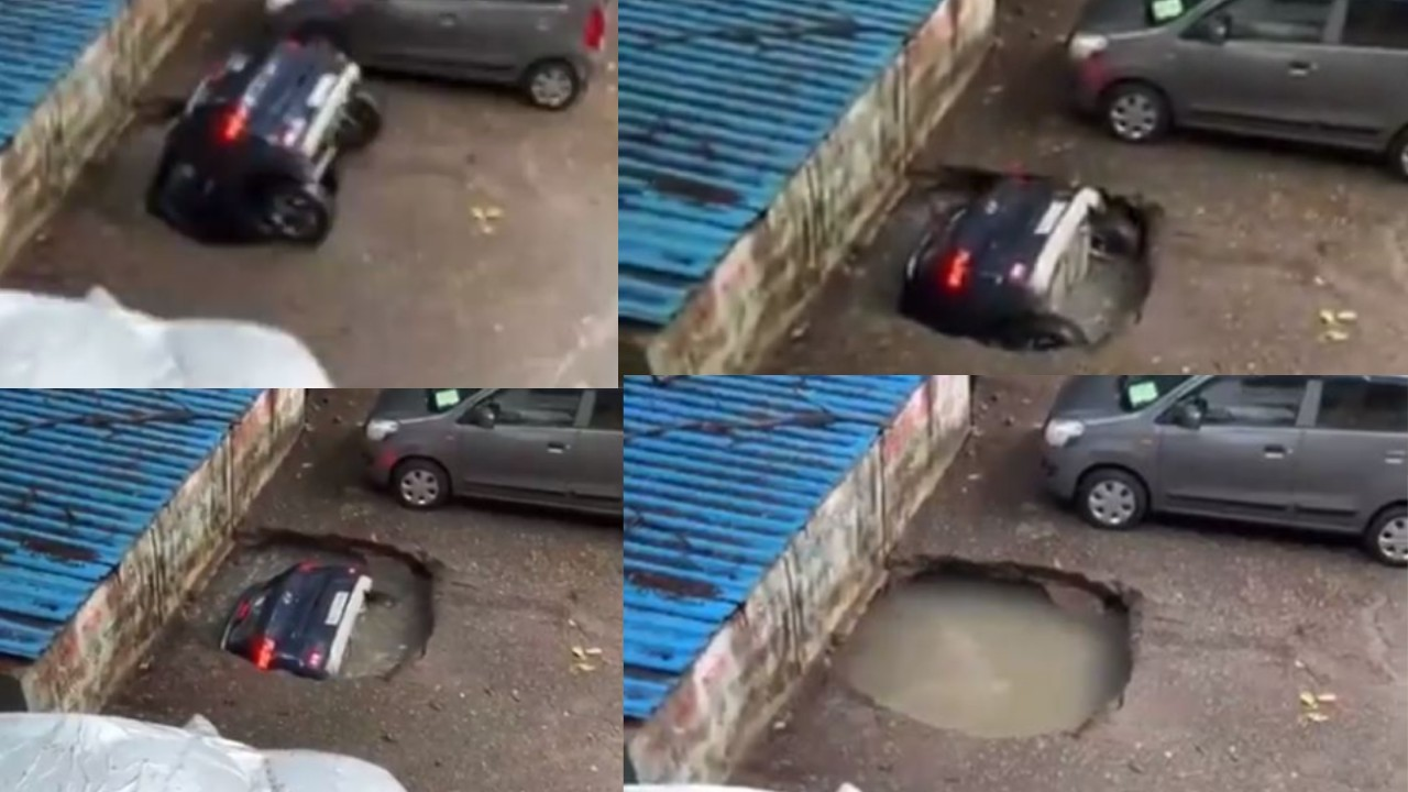 Nace socavón en la India y cámaras de seguridad captaron cuando se devoró un automóvil