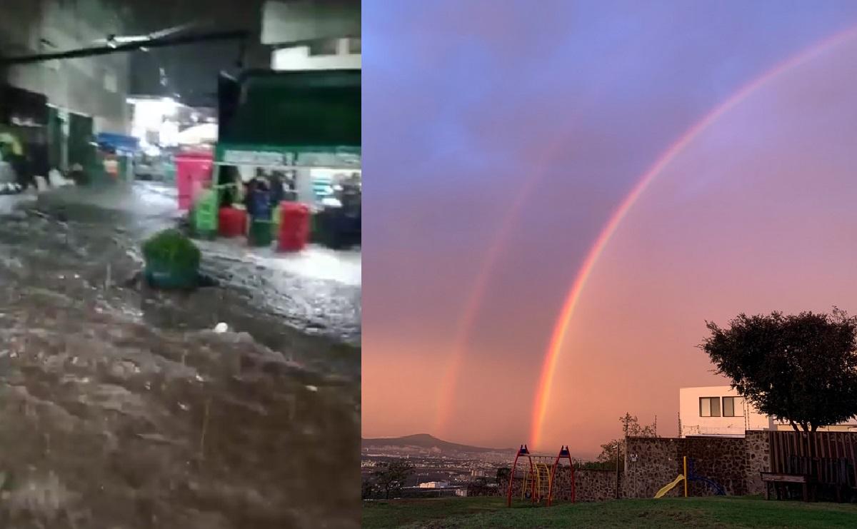 Lluvias dejan inundaciones, cierres viales y un arcoíris en Querétaro