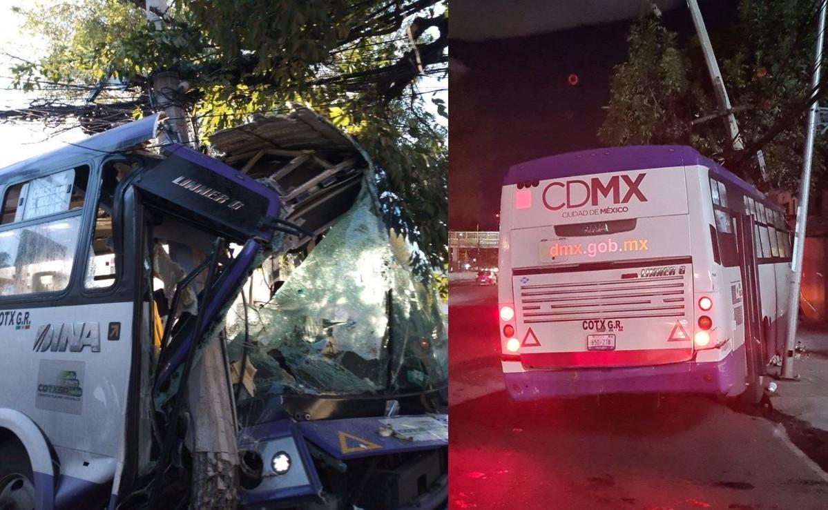 Chofer de autobús de pasajeros le mete turbo y se estrella contra un árbol, en CDMX