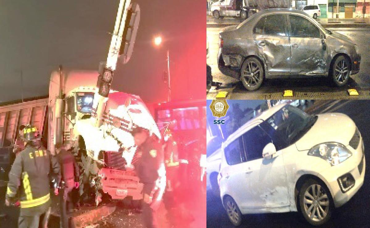Automovilista pierde el control, se estampa contra semáforo y causa fuerte choque en CDMX